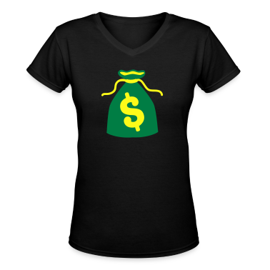 green money bag dollars $ Women's T-Shirts