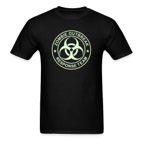 ZOMBIE OUTBREAK RESPONSE TEAM T-Shirt GLOW-IN-THE-DARK T-Shirt ~ 351