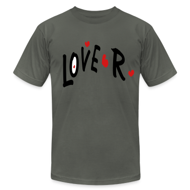 Love R txt hearts vector graphic line art Men's T-Shirt by American Apparel