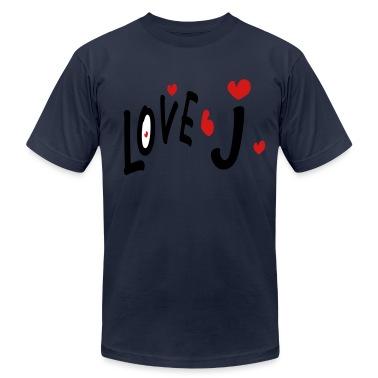 Love J txt hearts vector graphic line art Men's T-Shirt by American Apparel
