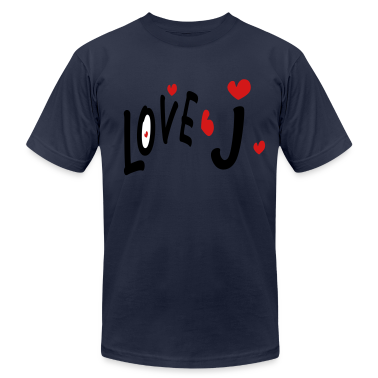 Love J txt hearts vector graphic line art Men's T-Shirt by American Apparel