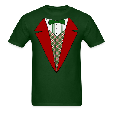 Funny Christmas Tuxedo, Red and Green Tux T-Shirt