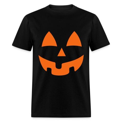 Black on Orange Jack-O-Lantern - Men's T-Shirt