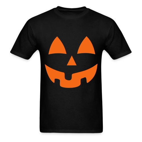 Black on Orange Jack-O-Lantern - Men's T-Shirt