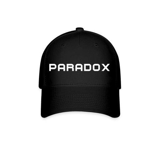 PARADOX MERCH Black Fitted Ball Cap W/ White Print - Baseball Cap