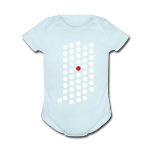 Short Sleeve Baby Bodysuit - Indianapolis, Indiana themed abstract dot design from City State Tees. 2 color front print design on a 100% cotton baby one piece. Choose your very own color shirt!