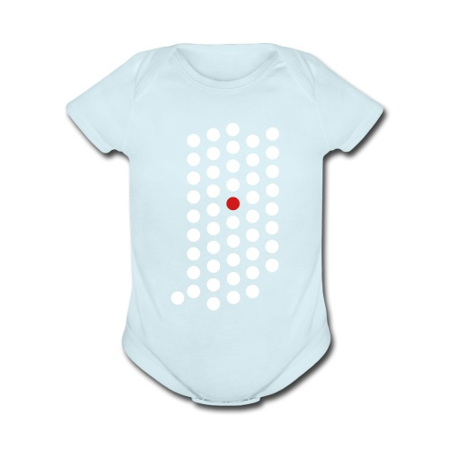 Organic Short Sleeve Baby Bodysuit - Indianapolis, Indiana themed abstract dot design from City State Tees. 2 color front print design on a 100% cotton baby one piece. Choose your very own color shirt!