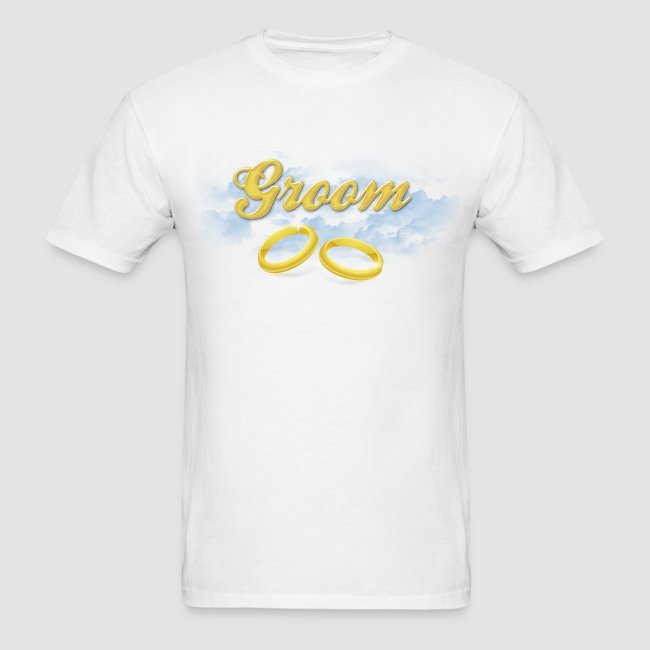 525883137c5 Groom Wedding T-Shirt, Gold Rings and Blue Clouds. Matching Bride Available  | Men's T-Shirt