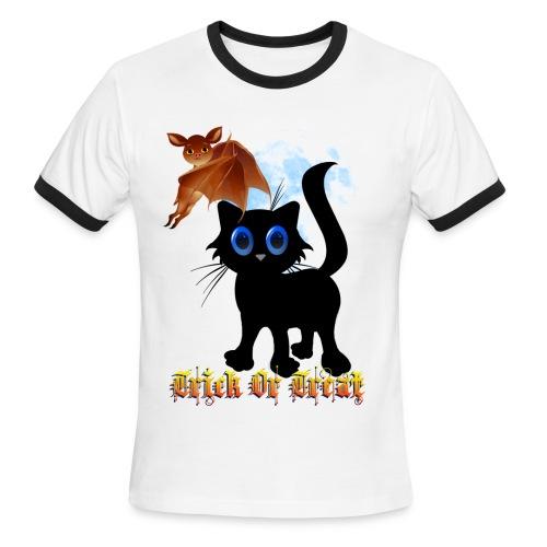 Trick Or Treat Black Kitten and Bat - Men's Ringer T-Shirt