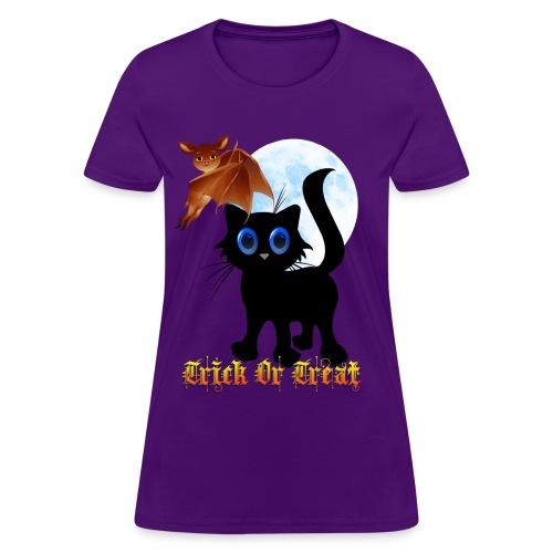 Trick Or Treat Black Kitten and Bat - Women's T-Shirt