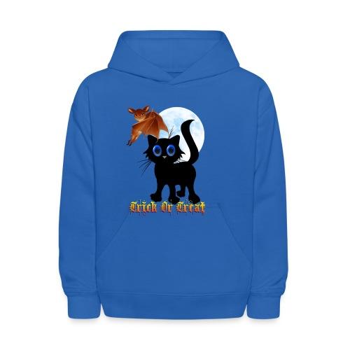 Trick Or Treat Black Kitten and Bat - Kids' Hoodie