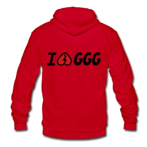 GGG Inverted Heart American Apparel Zip Hoodie - Unisex Fleece Zip Hoodie by American Apparel