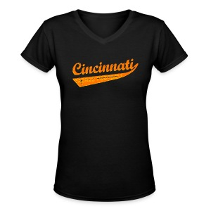 Women's V-Neck T-Shirt - Ladies v-neck. Who dey! Carson Palmer is outta here and your Cincinnati Bengals are playoff bound! You might think Mike Brown may sucks, but this funny Cincinnati tackle football shirt certainly doesn't! Available in several colors, sizes, and styles, including babies and even dogs! Cincinnati is not only a kick ass city, it's the home town of Flying Pigs, Alternative Motive and the Cincinnati Bengals.