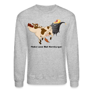 Long Sleeve Shirts ~ Men's Crewneck Sweatshirt ~ Make Love not Hamburger - Men's Sweatshirt