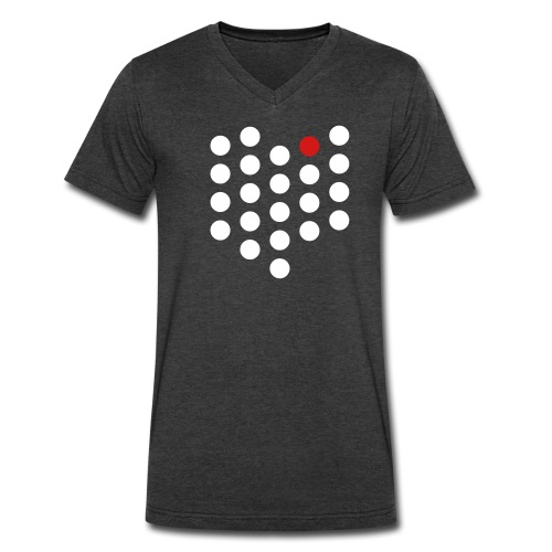 Men's V-Neck T-Shirt by Canvas - Cleveland, OH themed abstract dot design from City State Tees. 2 color front print design. Choose your own color shirt! Available in many other styles. Sizes run narrow.