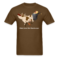 T-Shirts ~ Men's T-Shirt ~ Make Love Not Hamburger - Dark T
