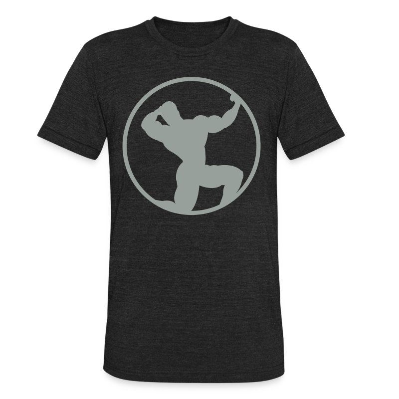 Unisex Tri-Blend T-Shirt by American Apparel - Stylized shirt with a bodybuilder in solid color format.