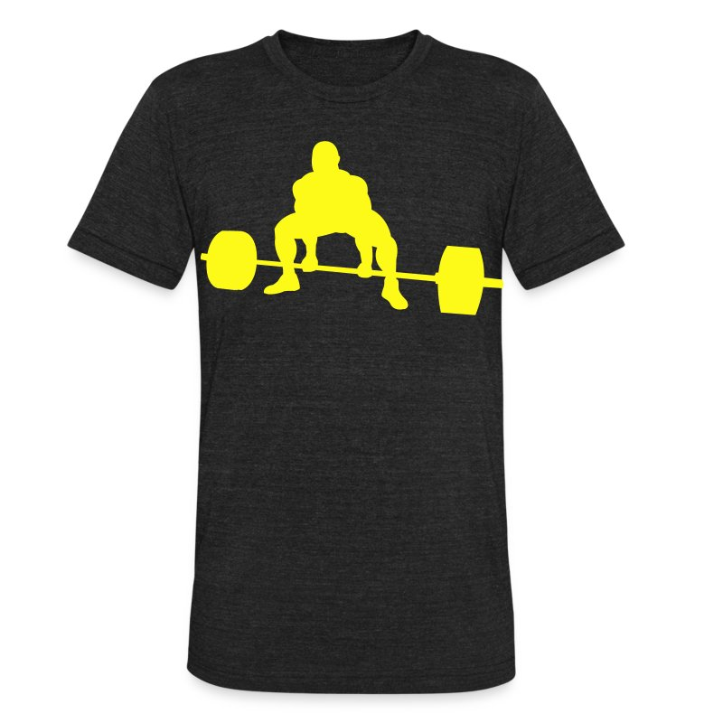 Unisex Tri-Blend T-Shirt by American Apparel - Stylized shirt with a deadlifting powerlifter in solid color format.