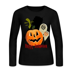 Jack-O-Lantern and Graves - Women's Long Sleeve Jersey T-Shirt