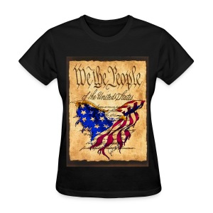 We The People American Eagle Flag Short Sleeve Heavy Weight  T-Shirt w/design on Front - Women's T-Shirt