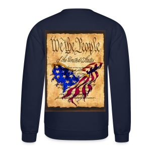 We The People American Eagle Flag Short Sleeve Sweat Shirt w/design on back - Crewneck Sweatshirt