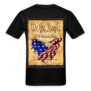 We The People American Eagle Flag Short Sleeve T-Shirt w/design on back - Men's T-Shirt