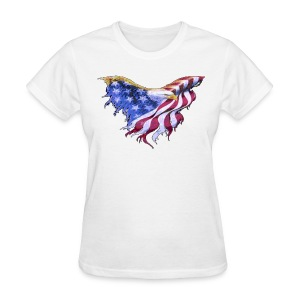We The People American Eagle Flag Womens Short Sleeve T-Shirt w/design on on front - Women's T-Shirt