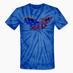 American Flag Eagle Flying Short Sleeve Tie-Dyed T-shirt