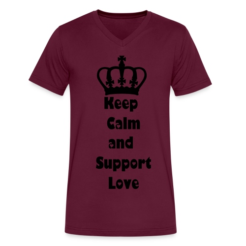 Keep Calm and Support Love - Men's V-Neck T-Shirt by Canvas