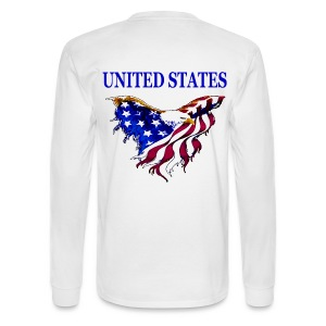 United States Eagle Flag Long Sleeve T-Shirt Shirt with design on back - Men's Long Sleeve T-Shirt