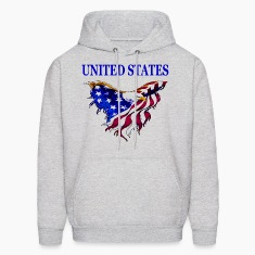 United States Eagle Flag Hooded Sweat Shirt with design on front