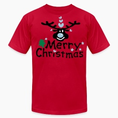 Merry Christmas txt reindeer vector graphic line art Men's T-Shirt by American Apparel