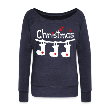 Merry christmas txt holidays stocking vector aryt Womens Wideneck Sweatshirt