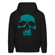 Hoodies ~ Men's Hoodie ~ The Gang Without A Name - Black and Teal Hoodie - Swag Skull