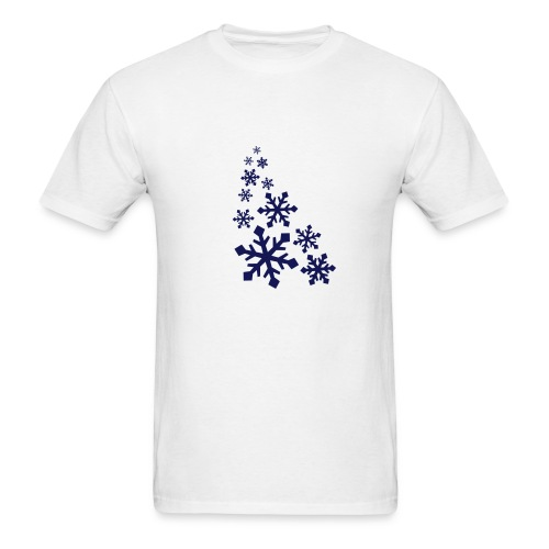 Mens White T-Shirt W/Navy Blue Snowflake Logo - Men's T-Shirt