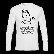 Long Sleeve Shirts ~ Men's Long Sleeve T-Shirt by Next Level ~ Easter Island Moai Ancient Shirt (Text) [Longsleeve]