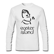 Long Sleeve Shirts ~ Men's Long Sleeve T-Shirt by Next Level ~ Easter Island Moai Ancient Shirt (Text) [Longsleeve]