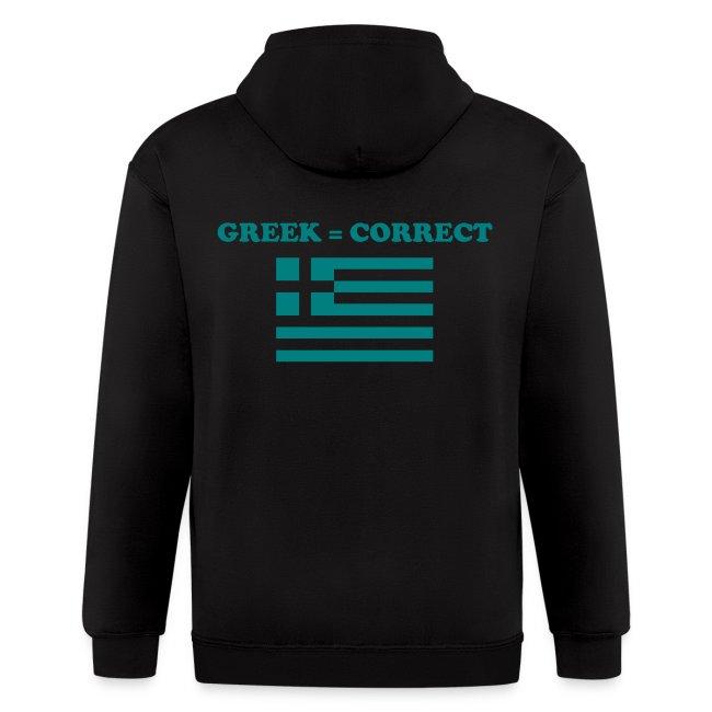 Mens Greek = Correct Zipper Hoody