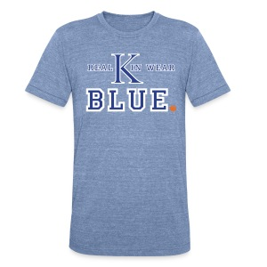 Unisex Tri-Blend T-Shirt by American Apparel - Kentucky sports fans love their Wildcats and even more so, love showing their UK spirit. This unique Kentucky basketball shirt is a funny take on the Oakland Raiders old motto, Real Men Wear Black. Well, nobody knows it better than Kentucky fans, if you're a UK follower, you're kin (family for those of you not from the so called south). This tee is available in several styles and if you want a different color shirt, go for it (although it doesn't make sense to:)