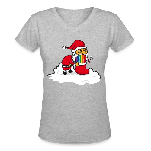 Christmas Cat - Women's V-Neck T-Shirt