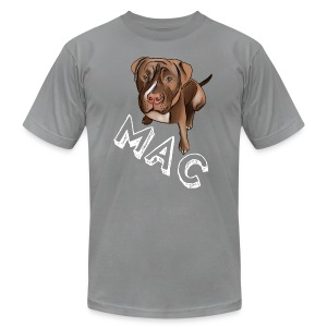 Men's Mac (White Text) Dark Grey AA Tee - Men's T-Shirt by American Apparel