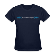 Women's T-Shirts ~ Women's T-Shirt ~ mvyradio martha's vineyard script with blue lobsters