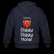 Zip Hoodies & Jackets ~ Men's Zip Hoodie ~ Mens Zip Hoodie: Diggy Diggy Hole