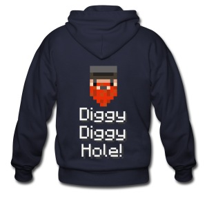 Mens Zip Hoodie: Diggy Diggy Hole - Men's Zip Hoodie