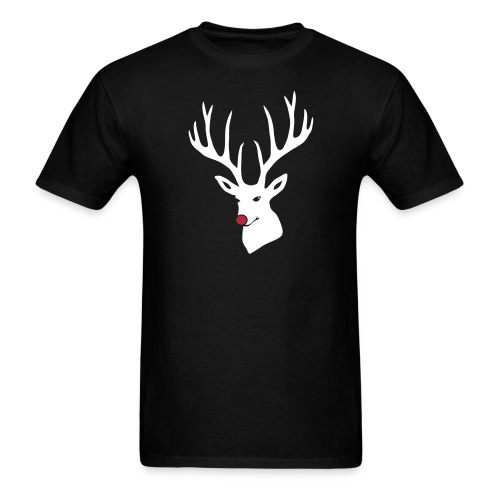 animal t-shirt christmas x-mas merry reindeer deer rudolph red nose antlers buck heart - Men's T-Shirt