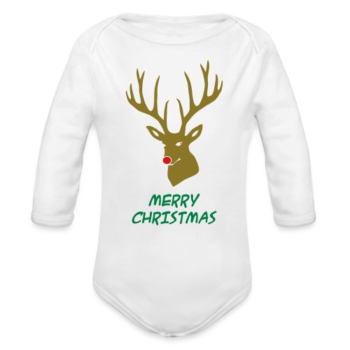 animal t-shirt christmas x-mas merry reindeer deer rudolph red nose antlers buck heart - Organic Long Sleeve Baby Bodysuit
