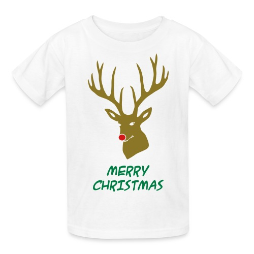 animal t-shirt christmas x-mas merry reindeer deer rudolph red nose antlers buck heart - Kids' T-Shirt