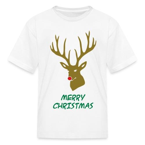 animal t-shirt christmas x-mas merry reindeer deer rudolph red nose antlers buck heart - Kids' T-Shirt