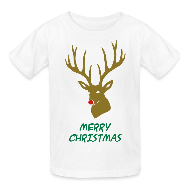 animal t-shirt christmas x-mas merry reindeer deer rudolph red nose antlers buck heart