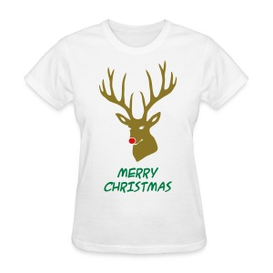 animal t-shirt christmas x-mas merry reindeer deer rudolph red nose antlers buck heart - Women's T-Shirt